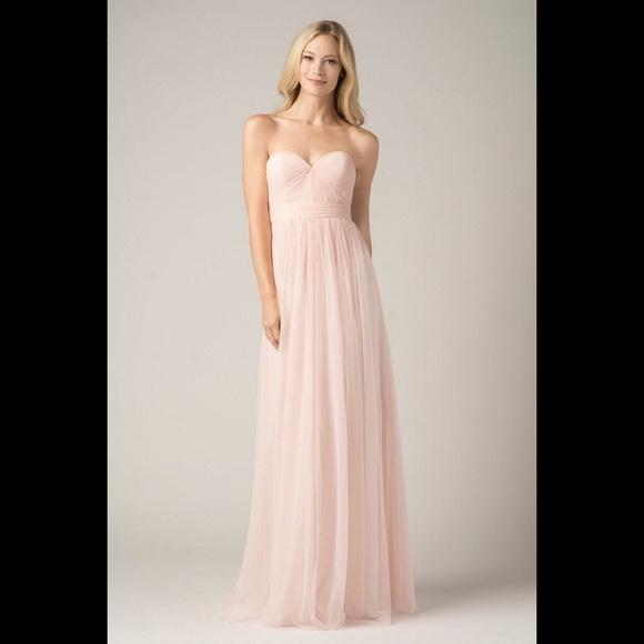 Watters Dresses   Blush Pink Long Gown Empire Waist Bridal Dress ...